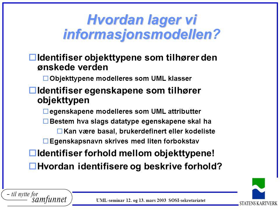 Hvordan lager vi informasjonsmodellen Hvordan lager vi informasjonsmodellen? oIdentifiser objekttypene som tilhører den ønskede verden oObjekttypene m