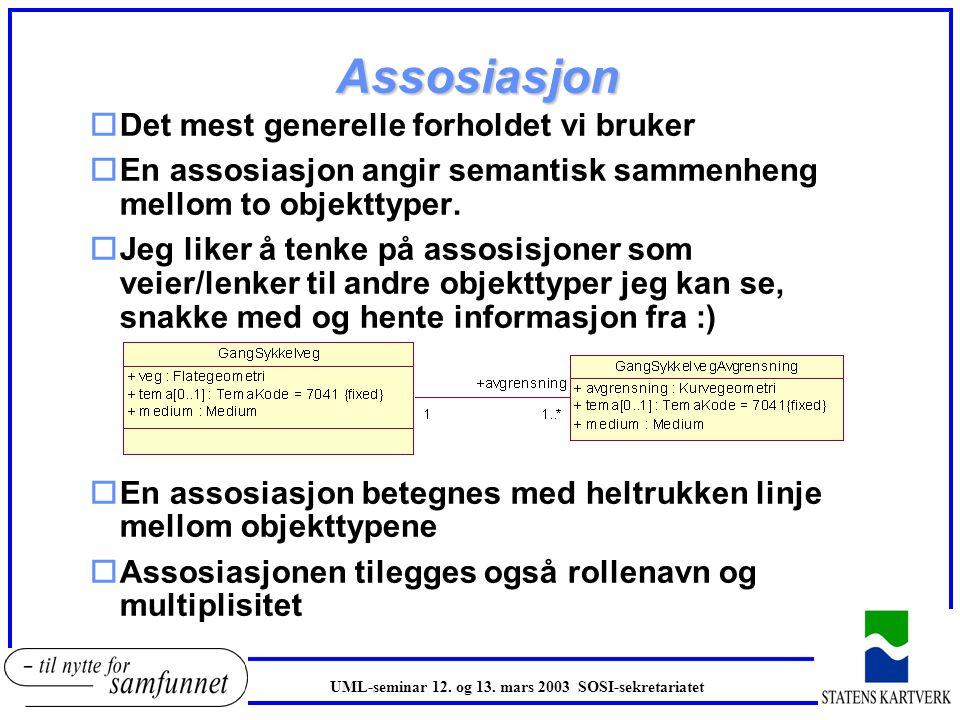 Assosiasjon oDet mest generelle forholdet vi bruker oEn assosiasjon angir semantisk sammenheng mellom to objekttyper. oJeg liker å tenke på assosisjon