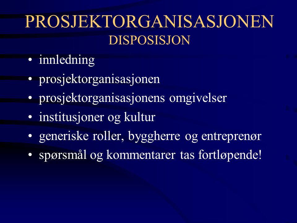 PRODUKT - PROSESS - PROSJEKTORGANISASJON PRODUKTET (OPPGAVE - RESULTAT) BYGGE- PROSESSEN PROSJEKT- ORGANISA- SJONEN BYGGEPROSJEKTET EKSTERNE AKTØRER, MYNDIGHETER, MARKED INSTITUSJONER, BRANSJEKULTUR TEKNOLOGI