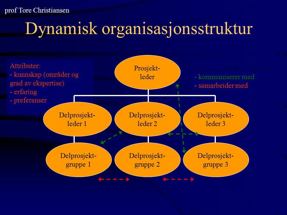 Attributer: - kunnskap (områder og grad av ekspertise) - erfaring - preferanser Dynamisk organisasjonsstruktur Prosjekt- leder Delprosjekt- leder 3 De