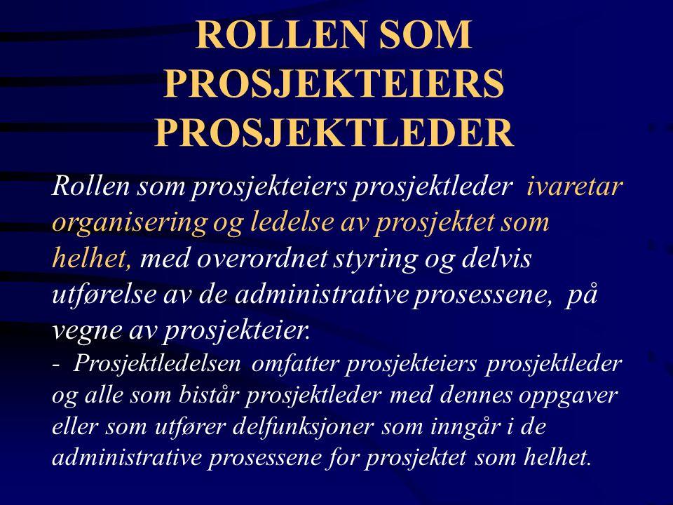 ROLLEN SOM PROSJEKTEIERS PROSJEKTLEDER Rollen som prosjekteiers prosjektleder ivaretar organisering og ledelse av prosjektet som helhet, med overordne