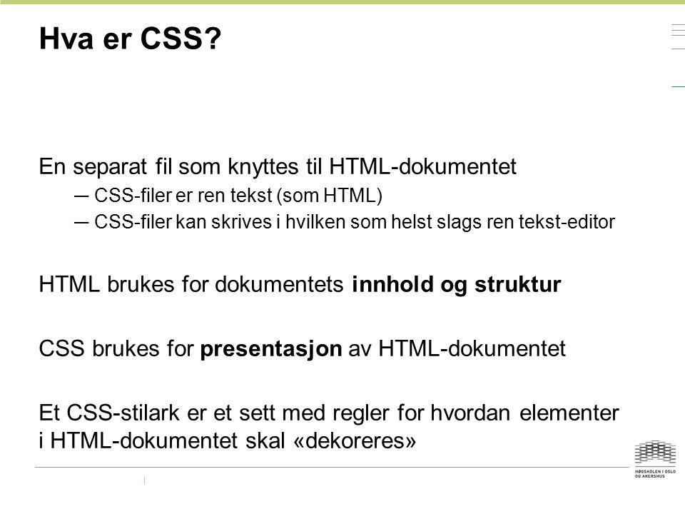Hva er CSS? En separat fil som knyttes til HTML-dokumentet — CSS-filer er ren tekst (som HTML) — CSS-filer kan skrives i hvilken som helst slags ren t