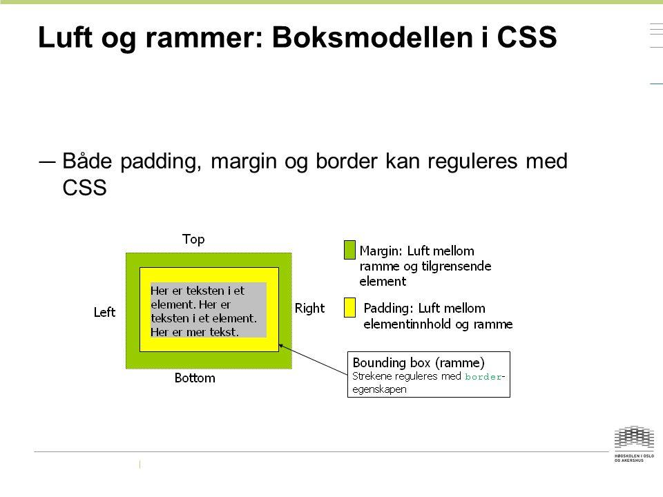 Luft og rammer: Boksmodellen i CSS — Både padding, margin og border kan reguleres med CSS