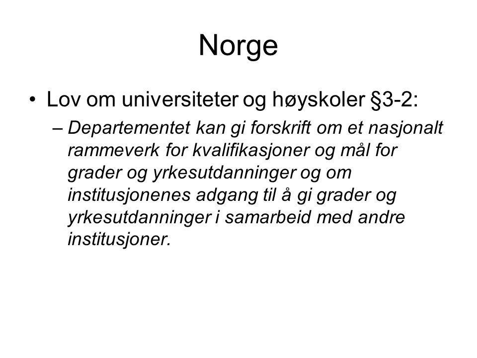 Norge Lov om universiteter og høyskoler §3-2: –Departementet kan gi forskrift om et nasjonalt rammeverk for kvalifikasjoner og mål for grader og yrkesutdanninger og om institusjonenes adgang til å gi grader og yrkesutdanninger i samarbeid med andre institusjoner.
