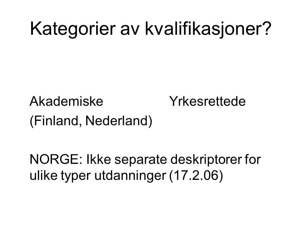 Kategorier av kvalifikasjoner? AkademiskeYrkesrettede (Finland, Nederland) NORGE: Ikke separate deskriptorer for ulike typer utdanninger (17.2.06)