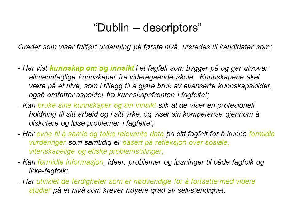 Dublin – descriptors Grader som viser fullført utdanning på første nivå, utstedes til kandidater som: - Har vist kunnskap om og innsikt i et fagfelt som bygger på og går utvover allmennfaglige kunnskaper fra videregående skole.