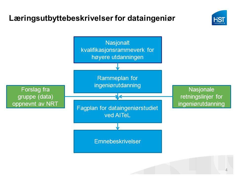 Læringsutbyttebeskrivelser for dataingeniør Nasjonalt kvalifikasjonsrammeverk for høyere utdanningen Rammeplan for ingeniørutdanning Fagplan for dataingeniørstudiet ved AITeL Emnebeskrivelser Forslag fra gruppe (data) oppnevnt av NRT Nasjonale retningslinjer for ingeniørutdanning 4