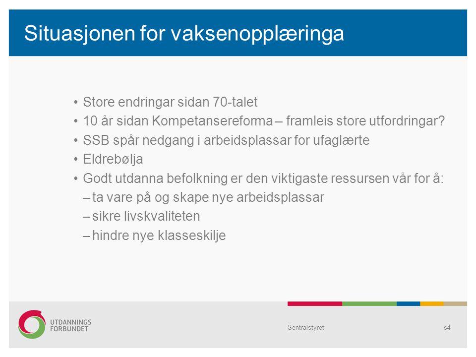 Sentralstyrets4 Situasjonen for vaksenopplæringa Store endringar sidan 70-talet 10 år sidan Kompetansereforma – framleis store utfordringar.