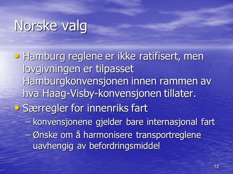 12 Norske valg Hamburg reglene er ikke ratifisert, men lovgivningen er tilpasset Hamburgkonvensjonen innen rammen av hva Haag-Visby-konvensjonen tillater.
