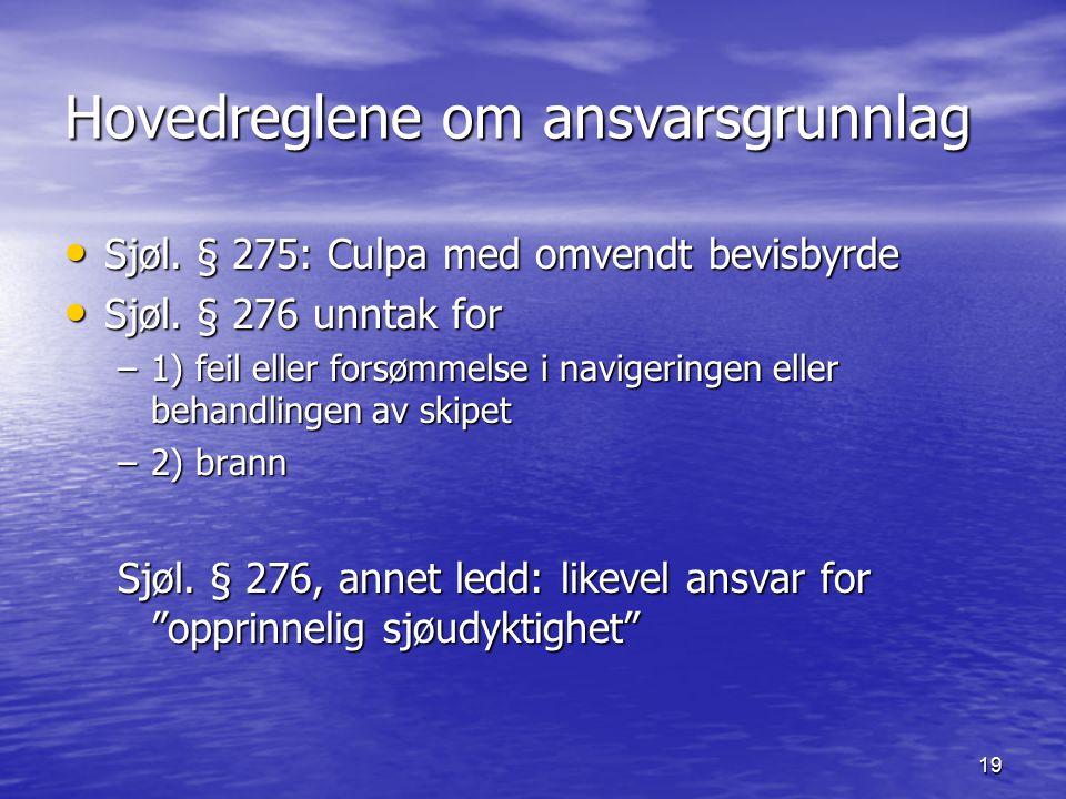 19 Hovedreglene om ansvarsgrunnlag Sjøl. § 275: Culpa med omvendt bevisbyrde Sjøl. § 275: Culpa med omvendt bevisbyrde Sjøl. § 276 unntak for Sjøl. §