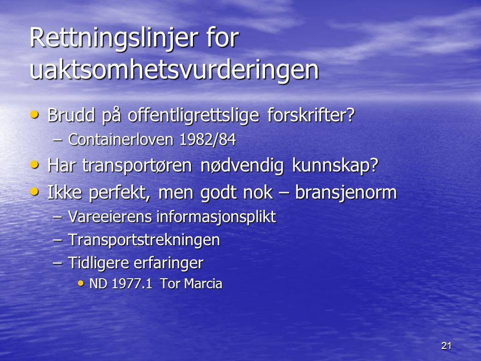 21 Rettningslinjer for uaktsomhetsvurderingen Brudd på offentligrettslige forskrifter? Brudd på offentligrettslige forskrifter? –Containerloven 1982/8