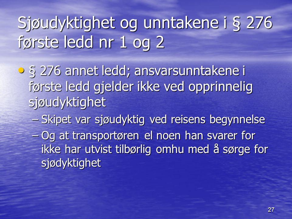 27 Sjøudyktighet og unntakene i § 276 første ledd nr 1 og 2 § 276 annet ledd; ansvarsunntakene i første ledd gjelder ikke ved opprinnelig sjøudyktighe