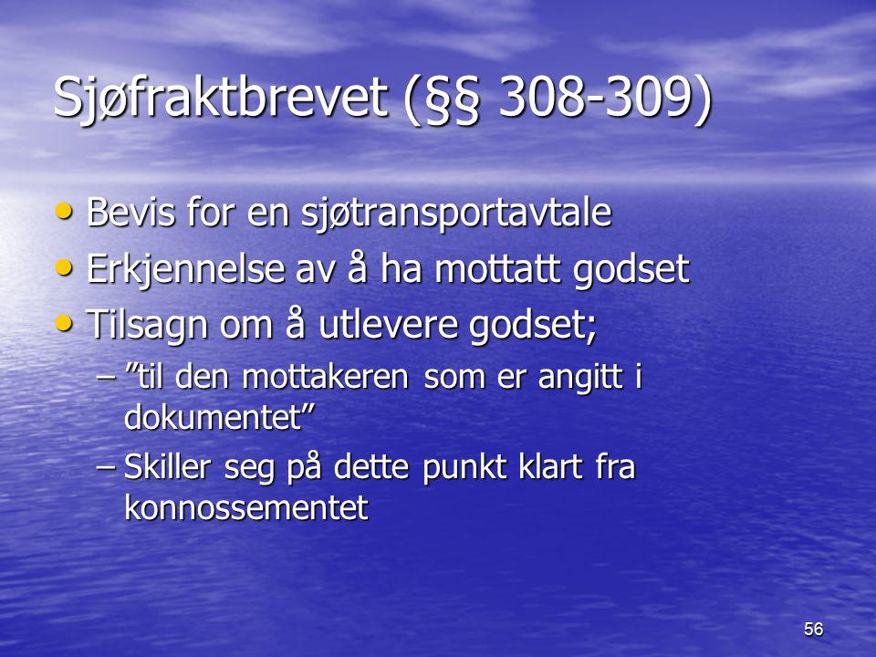 56 Sjøfraktbrevet (§§ 308-309) Bevis for en sjøtransportavtale Bevis for en sjøtransportavtale Erkjennelse av å ha mottatt godset Erkjennelse av å ha