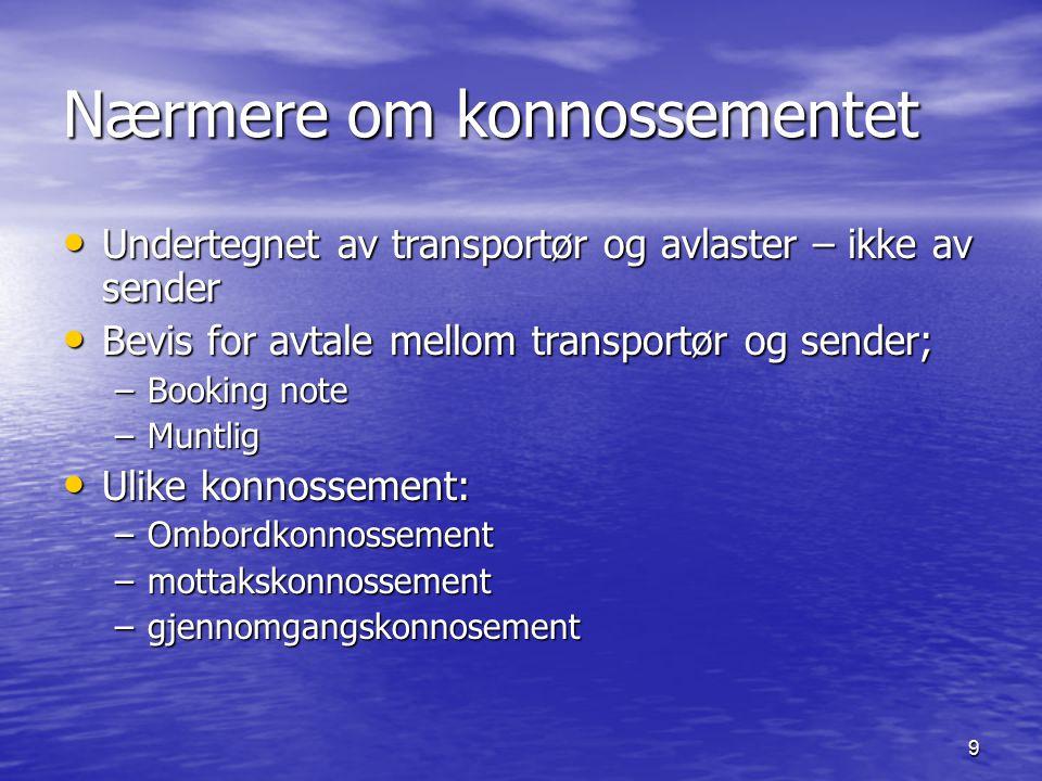 9 Nærmere om konnossementet Undertegnet av transportør og avlaster – ikke av sender Undertegnet av transportør og avlaster – ikke av sender Bevis for