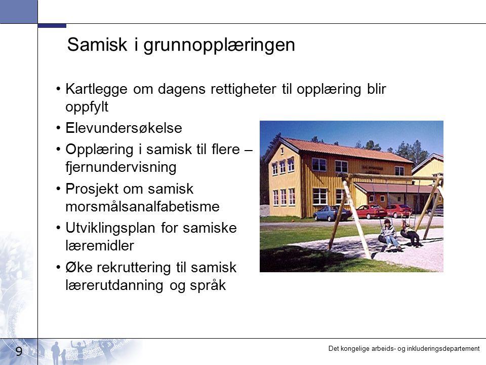 9 Det kongelige arbeids- og inkluderingsdepartement Samisk i grunnopplæringen Kartlegge om dagens rettigheter til opplæring blir oppfylt Elevundersøke