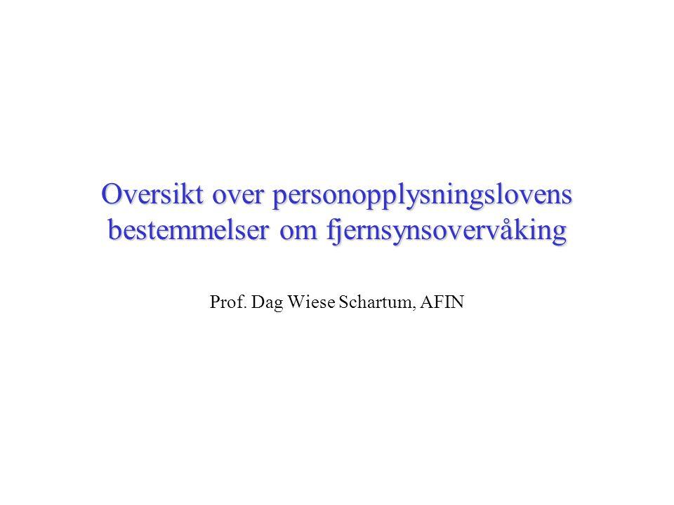 Oversikt over personopplysningslovens bestemmelser om fjernsynsovervåking Prof.