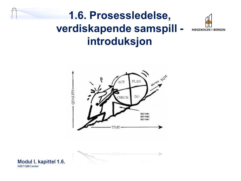 1.6. Prosessledelse, verdiskapende samspill - introduksjon Modul I, kapittel 1.6. HiB/TQM Center