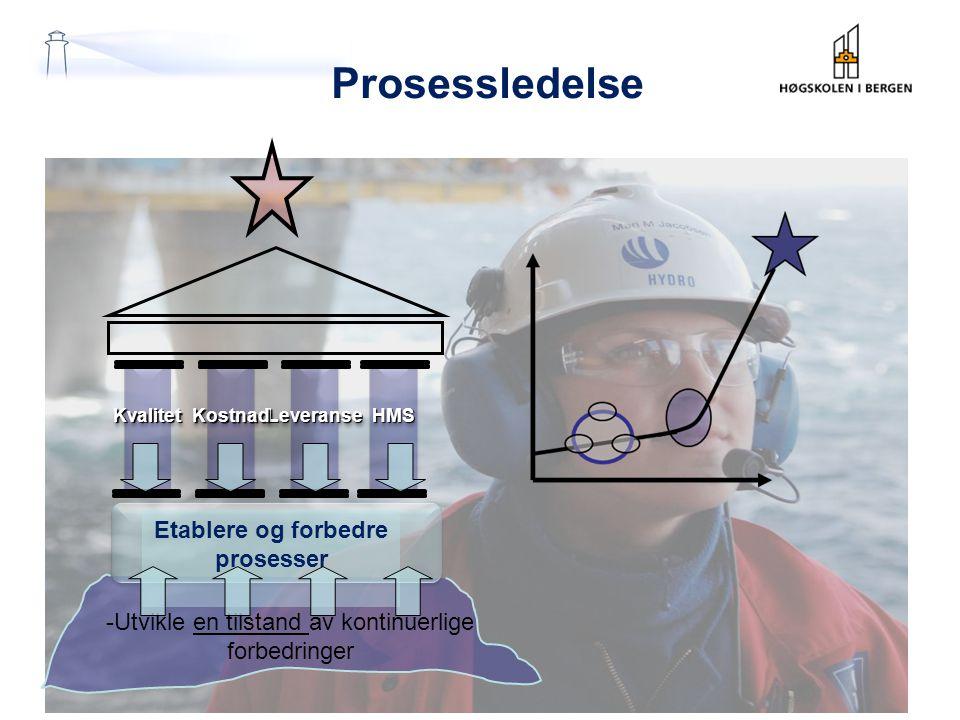 Prosessledelse -Utvikle en tilstand av kontinuerlige forbedringer Kvalitet Kvalitet Leveranse Leveranse HMSHMSKostnad Kostnad Etablere og forbedre prosesser