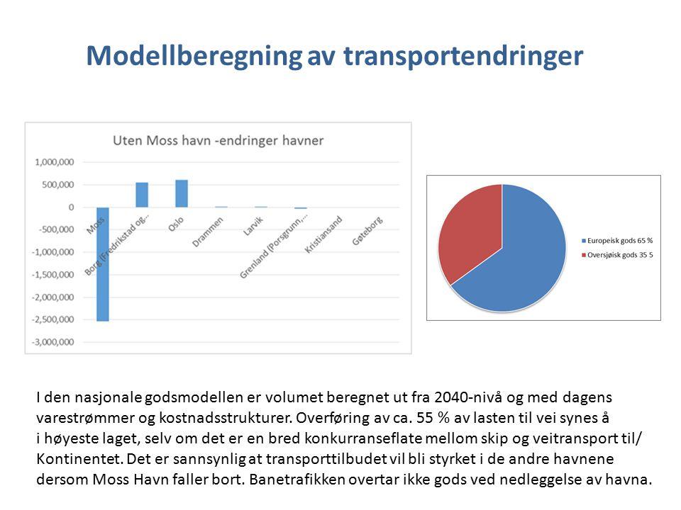 Modellberegning av transportendringer I den nasjonale godsmodellen er volumet beregnet ut fra 2040-nivå og med dagens varestrømmer og kostnadsstrukturer.
