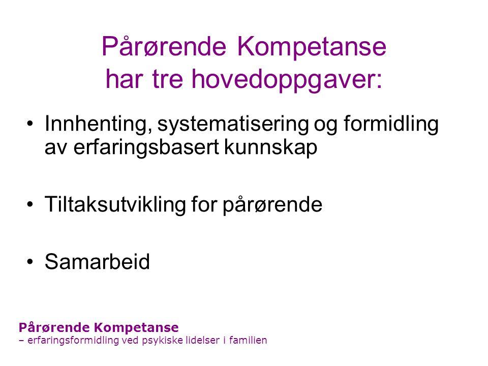 Pårørende Kompetanse har tre hovedoppgaver: Innhenting, systematisering og formidling av erfaringsbasert kunnskap Tiltaksutvikling for pårørende Samar