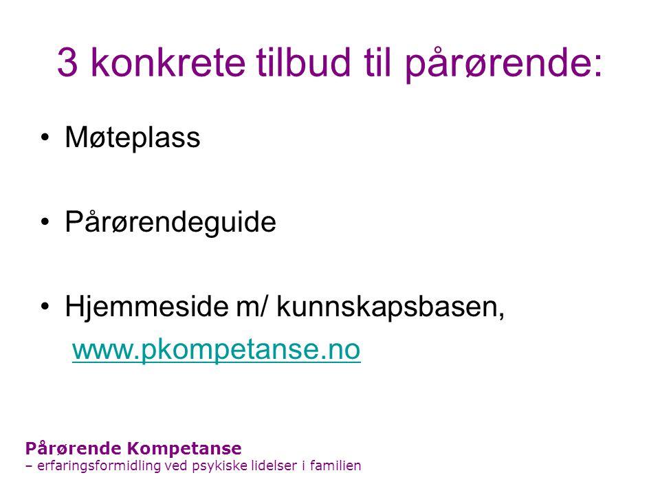 3 konkrete tilbud til pårørende: Møteplass Pårørendeguide Hjemmeside m/ kunnskapsbasen, www.pkompetanse.no Pårørende Kompetanse – erfaringsformidling