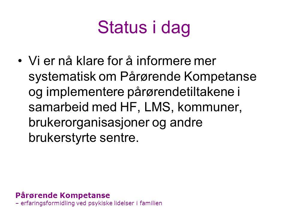 Status i dag Vi er nå klare for å informere mer systematisk om Pårørende Kompetanse og implementere pårørendetiltakene i samarbeid med HF, LMS, kommun
