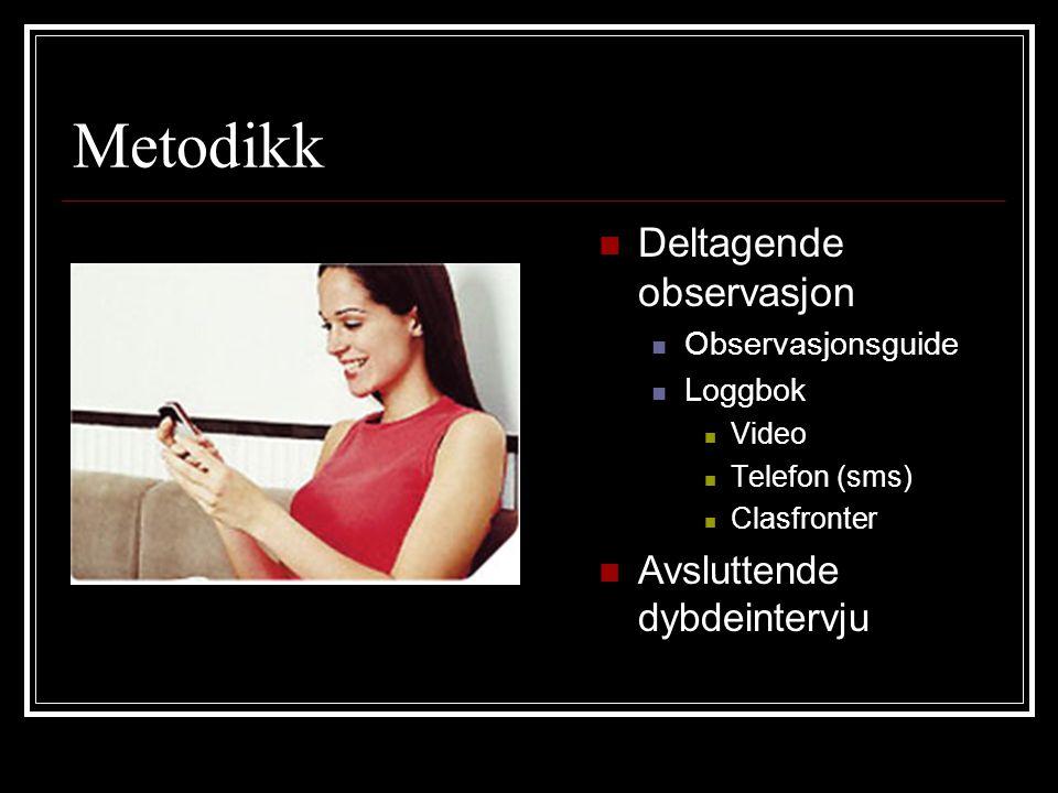 Metodikk Deltagende observasjon Observasjonsguide Loggbok Video Telefon (sms) Clasfronter Avsluttende dybdeintervju