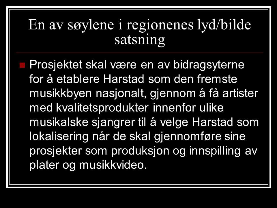En av søylene i regionenes lyd/bilde satsning Prosjektet skal være en av bidragsyterne for å etablere Harstad som den fremste musikkbyen nasjonalt, gjennom å få artister med kvalitetsprodukter innenfor ulike musikalske sjangrer til å velge Harstad som lokalisering når de skal gjennomføre sine prosjekter som produksjon og innspilling av plater og musikkvideo.