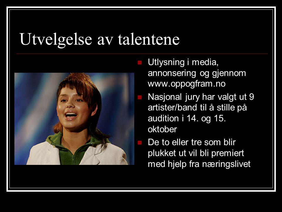 Utvelgelse av talentene Utlysning i media, annonsering og gjennom www.oppogfram.no Nasjonal jury har valgt ut 9 artister/band til å stille på audition i 14.
