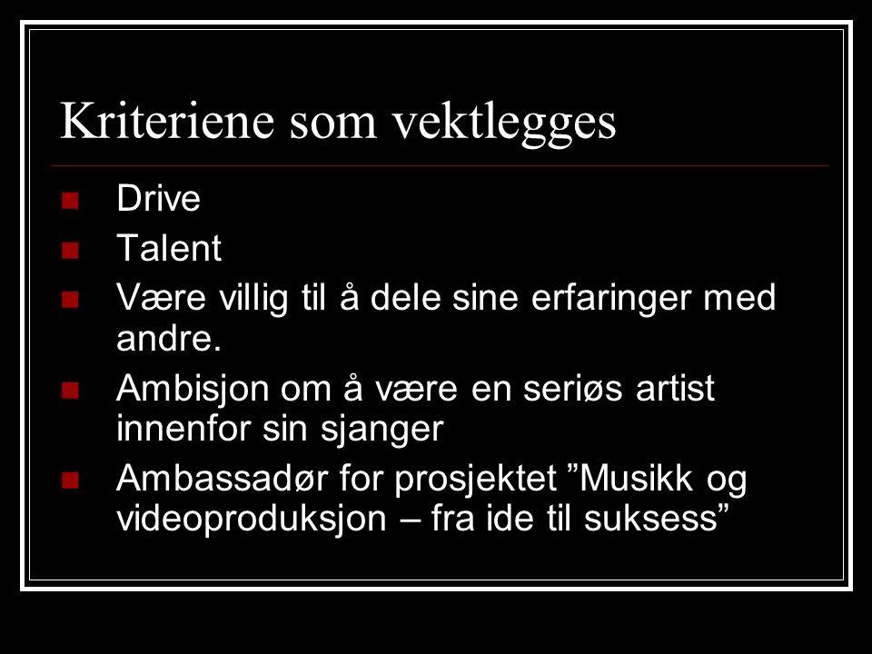 Kriteriene som vektlegges Drive Talent Være villig til å dele sine erfaringer med andre.