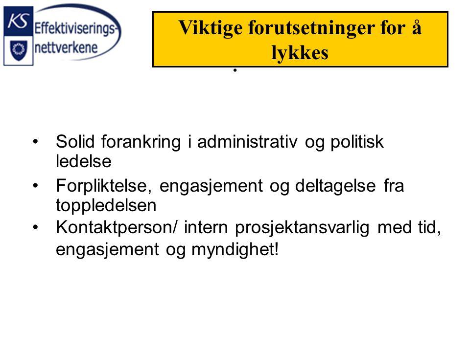 Solid forankring i administrativ og politisk ledelse Forpliktelse, engasjement og deltagelse fra toppledelsen Kontaktperson/ intern prosjektansvarlig