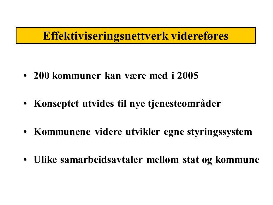 200 kommuner kan være med i 2005 Konseptet utvides til nye tjenesteområder Kommunene videre utvikler egne styringssystem Ulike samarbeidsavtaler mello