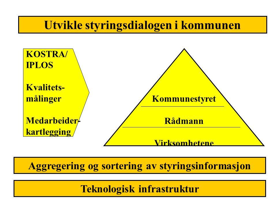 Utvikle styringsdialogen i kommunen Kommunestyret Rådmann Virksomhetene KOSTRA/ IPLOS Kvalitets- målinger Medarbeider- kartlegging Aggregering og sort