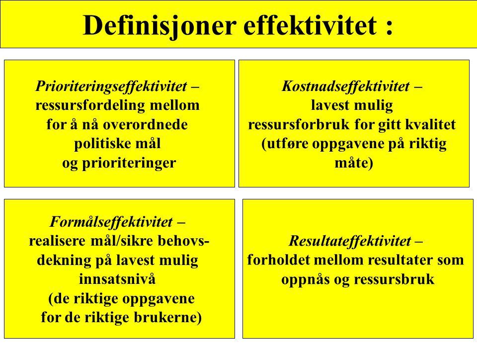 Definisjoner effektivitet : Prioriteringseffektivitet – ressursfordeling mellom for å nå overordnede politiske mål og prioriteringer Kostnadseffektivi