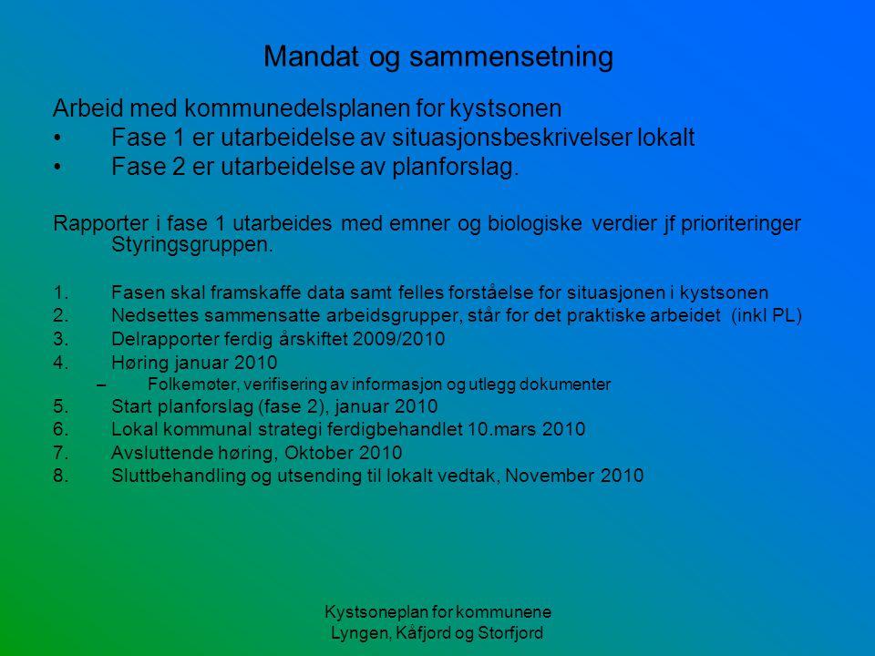 Kystsoneplan for kommunene Lyngen, Kåfjord og Storfjord Mandat og sammensetning Arbeid med kommunedelsplanen for kystsonen Fase 1 er utarbeidelse av situasjonsbeskrivelser lokalt Fase 2 er utarbeidelse av planforslag.