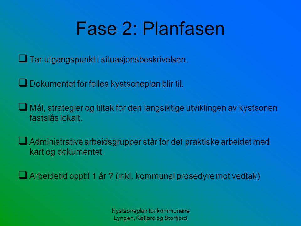Kystsoneplan for kommunene Lyngen, Kåfjord og Storfjord Fase 2: Planfasen  Tar utgangspunkt i situasjonsbeskrivelsen.  Dokumentet for felles kystson