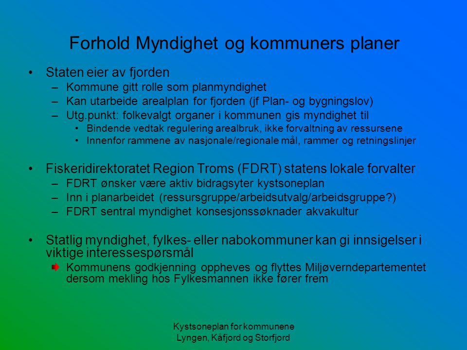 Kystsoneplan for kommunene Lyngen, Kåfjord og Storfjord Forhold Myndighet og kommuners planer Staten eier av fjorden –Kommune gitt rolle som planmyndi