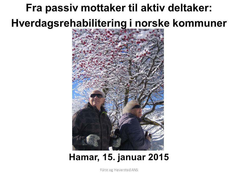 Fürst og Høverstad ANS Formål/mandat Aggregere kunnskap fra ulike modeller for å kunne vurdere forutsetninger og elementer som må være tilstede for hverdagsrehabilitering som fungerer.