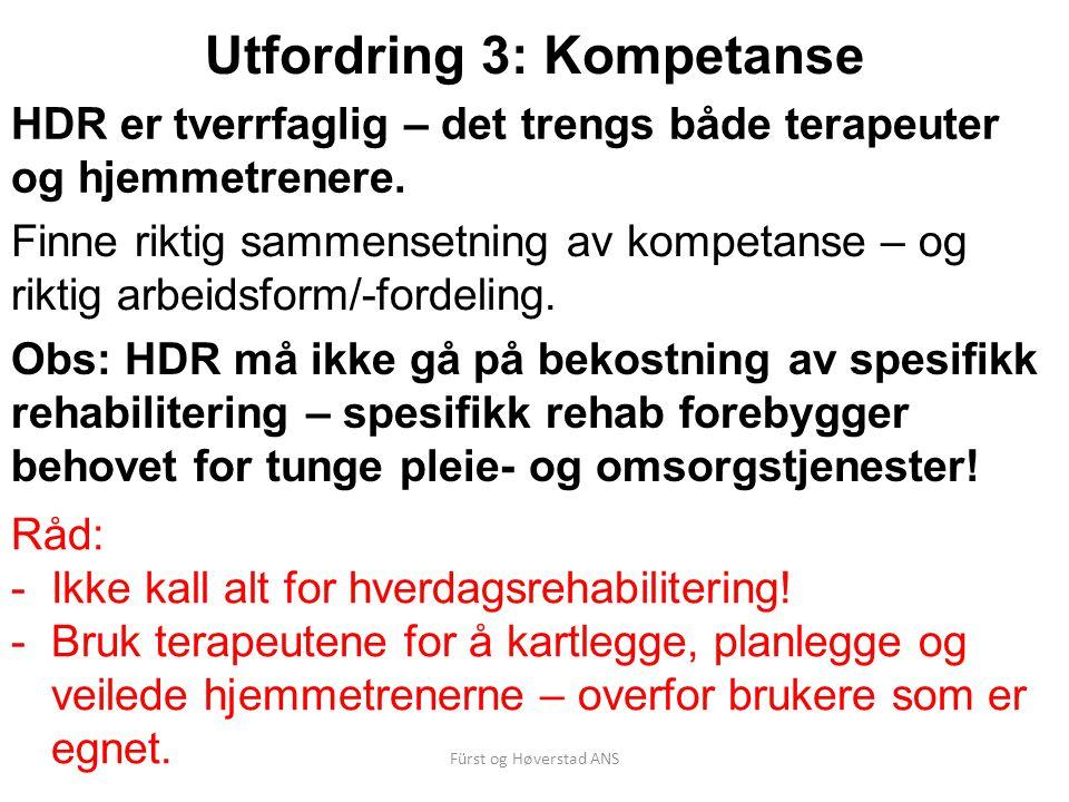 Fürst og Høverstad ANS Utfordring 3: Kompetanse Finne riktig sammensetning av kompetanse – og riktig arbeidsform/-fordeling.