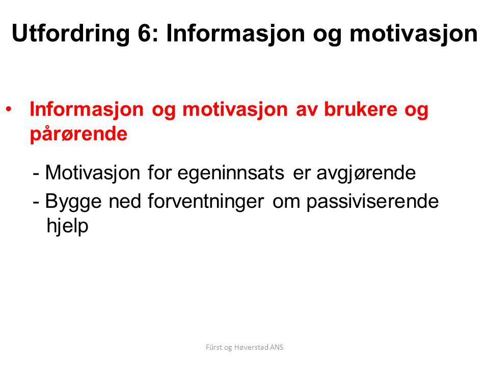 Fürst og Høverstad ANS Utfordring 6: Informasjon og motivasjon Informasjon og motivasjon av brukere og pårørende - Motivasjon for egeninnsats er avgjørende - Bygge ned forventninger om passiviserende hjelp
