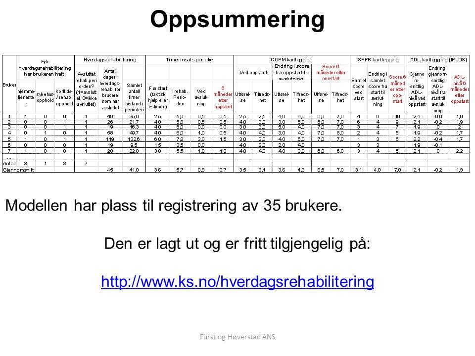 Fürst og Høverstad ANS Oppsummering Modellen har plass til registrering av 35 brukere.