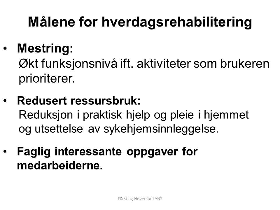 Fürst og Høverstad ANS Målene for hverdagsrehabilitering Redusert ressursbruk: Reduksjon i praktisk hjelp og pleie i hjemmet og utsettelse av sykehjemsinnleggelse.