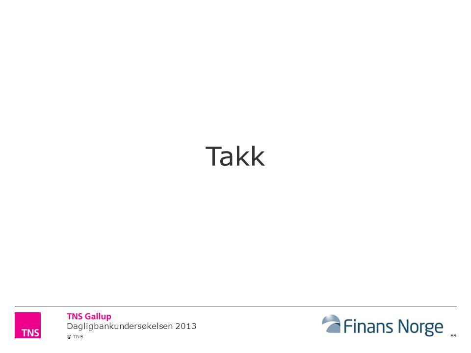 Dagligbankundersøkelsen 2013 © TNS 69 Takk