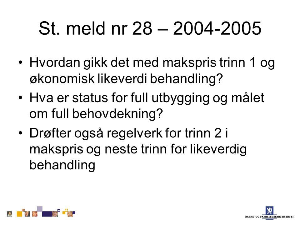 St. meld nr 28 – 2004-2005 Hvordan gikk det med makspris trinn 1 og økonomisk likeverdi behandling.