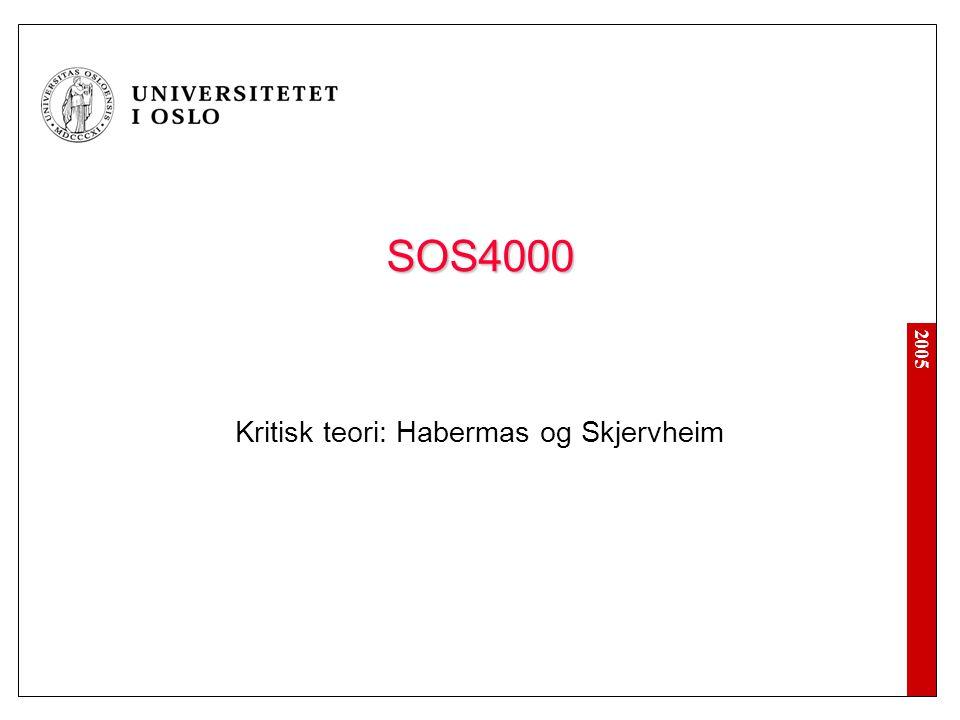 2005 SOS4000 Kritisk teori: Habermas og Skjervheim