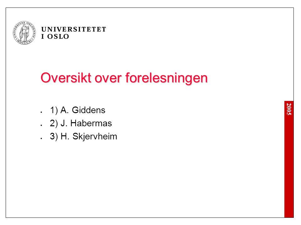 2005 Oversikt over forelesningen 1) A. Giddens 2) J. Habermas 3) H. Skjervheim