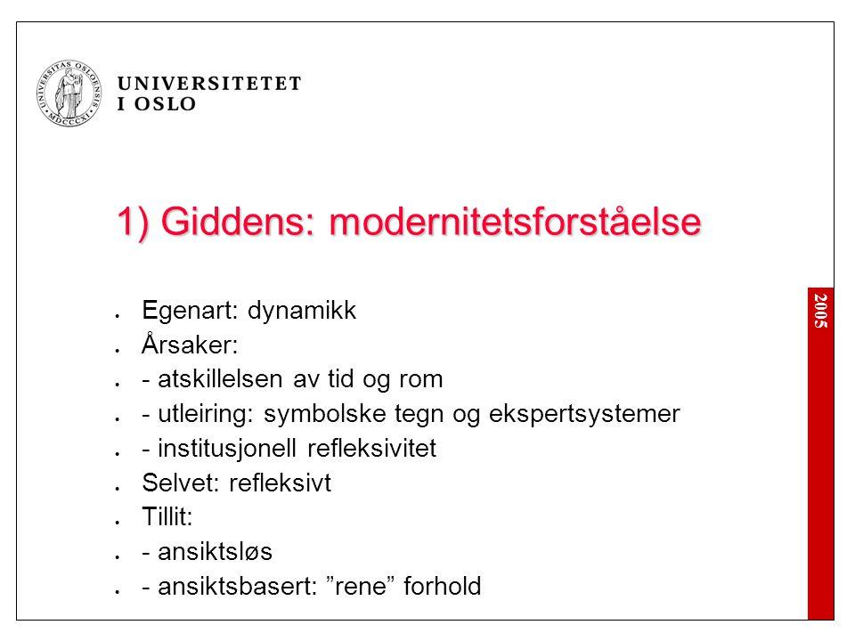 2005 1) Giddens: modernitetsforståelse Egenart: dynamikk Årsaker: - atskillelsen av tid og rom - utleiring: symbolske tegn og ekspertsystemer - instit