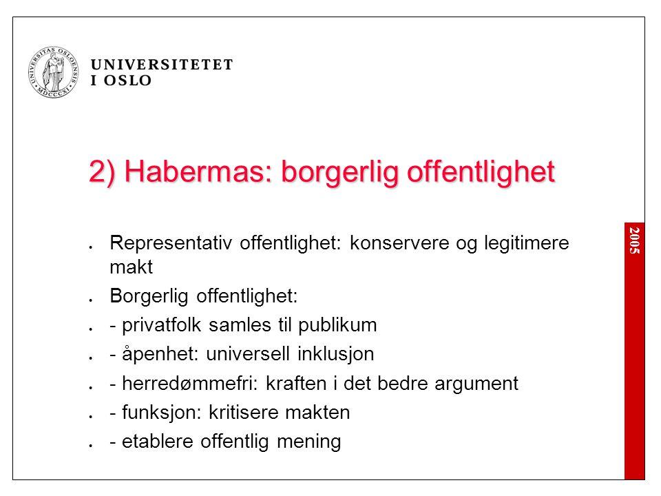 2005 2) Habermas: borgerlig offentlighet Representativ offentlighet: konservere og legitimere makt Borgerlig offentlighet: - privatfolk samles til pub