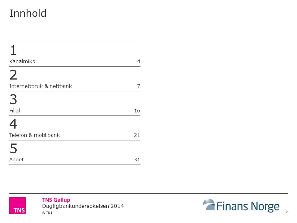 © TNS Innhold 2 1 Kanalmiks 4 2 Internettbruk & nettbank 7 3 Filial 16 4 Telefon & mobilbank 21 5 Annet 31
