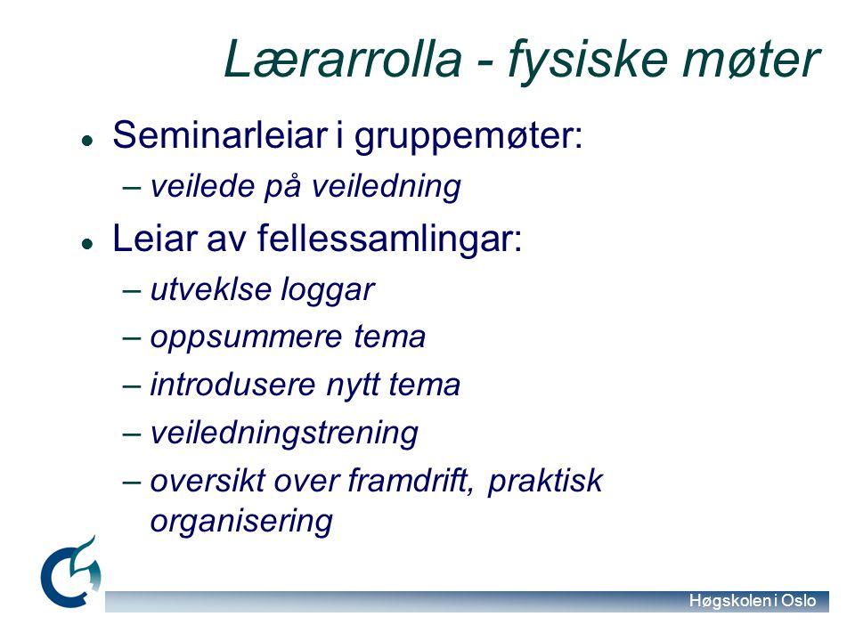 Høgskolen i Oslo Lærarrolla - fysiske møter Seminarleiar i gruppemøter: –veilede på veiledning Leiar av fellessamlingar: –utveklse loggar –oppsummere